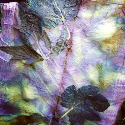 Natural Eco Dyeing: fig andprunnusleaves. The fig leaves give that yellow tint and the purple is from the prunnus from Nat's Creative Blog.  Wow I love these colors