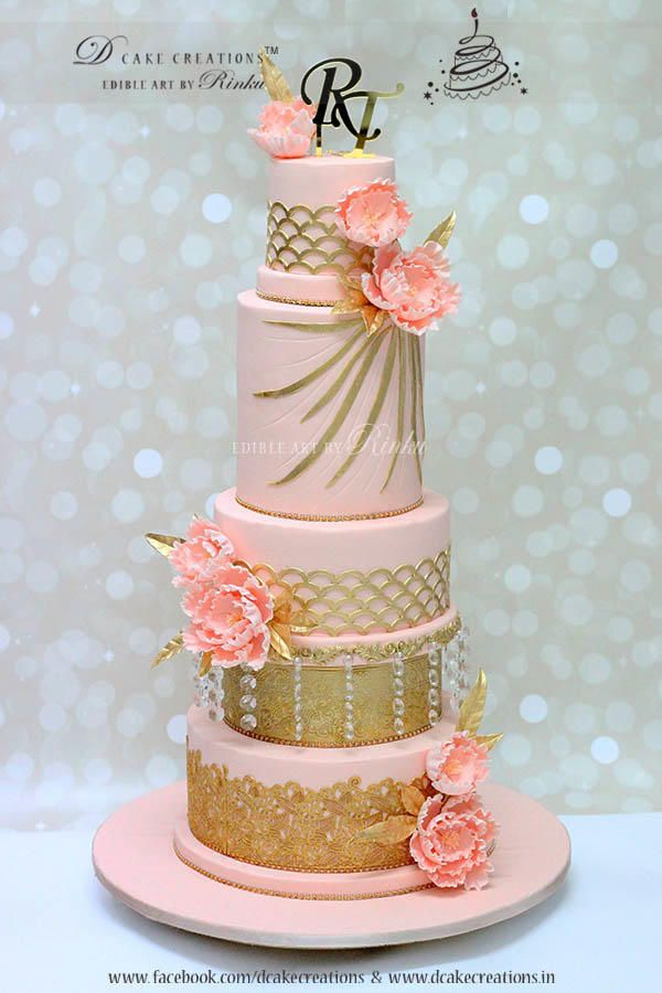 Tall Pink Five Tier Wedding Cake by D Cake Creations - http://cakesdecor.com/cakes/271099-tall-pink-five-tier-wedding-cake