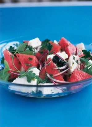 WATERMELON, FETA AND BLACK OLIVE SALAD: As improbable as it might sound, this combination is utterly fantastic, both savoury and refreshing at the same time.