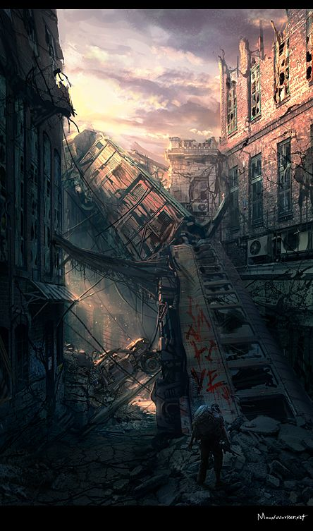 Post-apocalyptic collapsed buildings