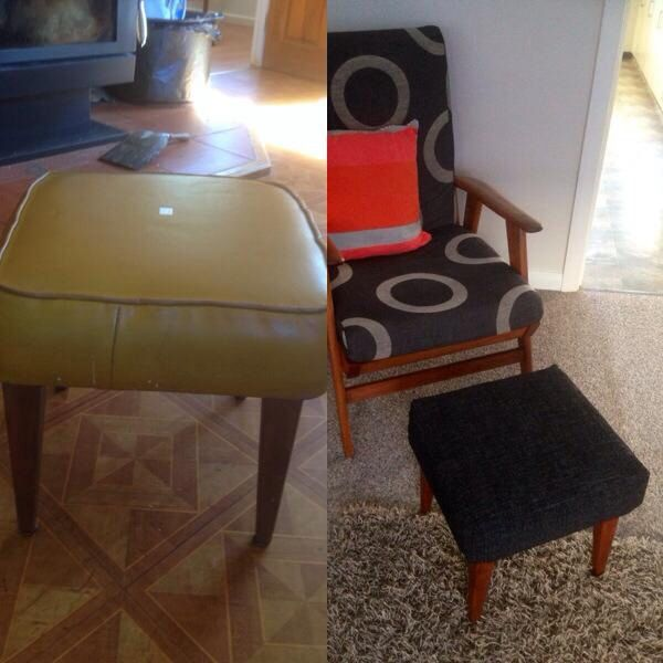 My $5.00 foot stool before and after :)