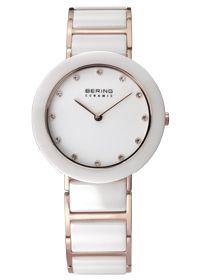 NEW Collection Bering White Ceramic Rose Gold Case, Sapphire Glass, Part Ceramic Band