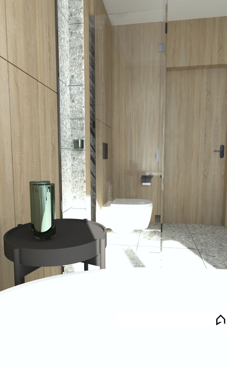 Architect:      Architekt Agnieszka Czupryn   Location:       Łódź, Poland   Area: 9m2   Project year: 2017  #moderninterior #modernbathroom #modernarchitecture #greyinterior #greytiles #greywall #stoneinterior #stonetiles #stonewall #glassshower #woodeninterior #woodentiles #woodenwall #minimalistinterior  #modernwall #bathroom #woodenbathroom #stonebathroom #polandarchitecture #polandhouse