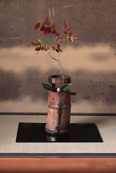 seasonal flowers arranged for a tea ceremony