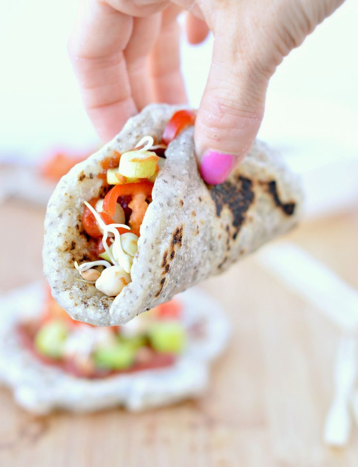 Those paleo tortilla are thick, soft with a chewy texture similar to chinese dumpling and can be filled with any raw vegetables of your choice.