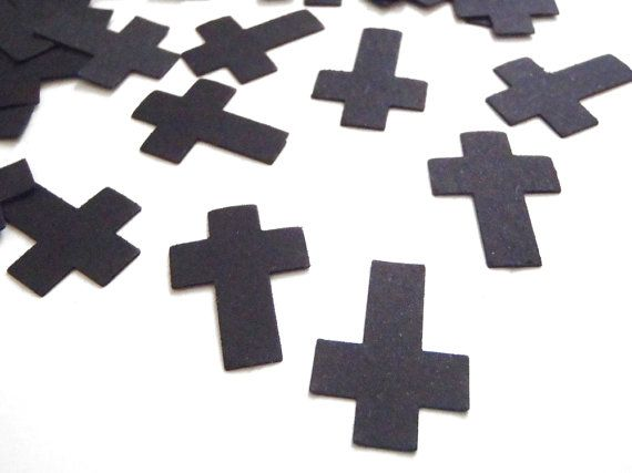 black cross confetti gothic wedding baptism baby shower gothic communion church…