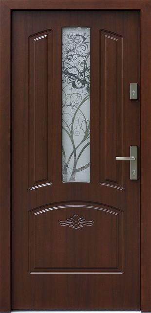 Drewniane wejściowe drzwi zewnętrzne do domu z katalogu modeli klasycznych wzór 552,1s+d1-ds4