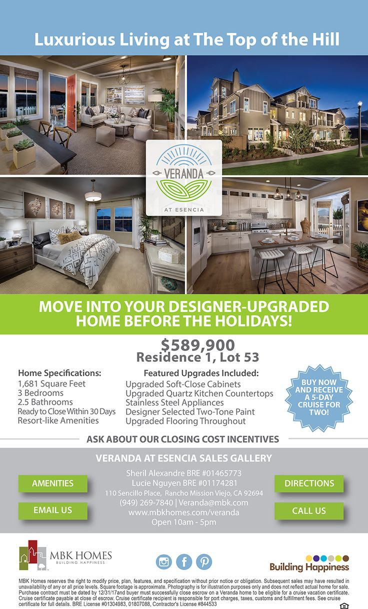 Cost to build a new home in california - New Homes For Sale In Rancho Mission Viejo California Move Into Your Designer Upgraded Home Before The Holidays Veranda At Esencia Closing Cost