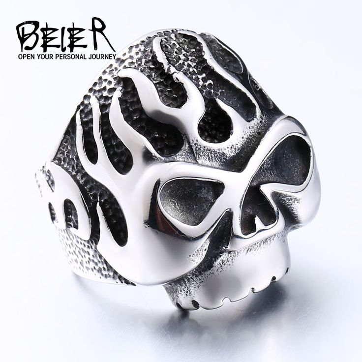 Beier new store 316L Stainless Steel high quality ring Biker Flame Skull  Heavy Metal Punk fashion Jewelry BR8-064