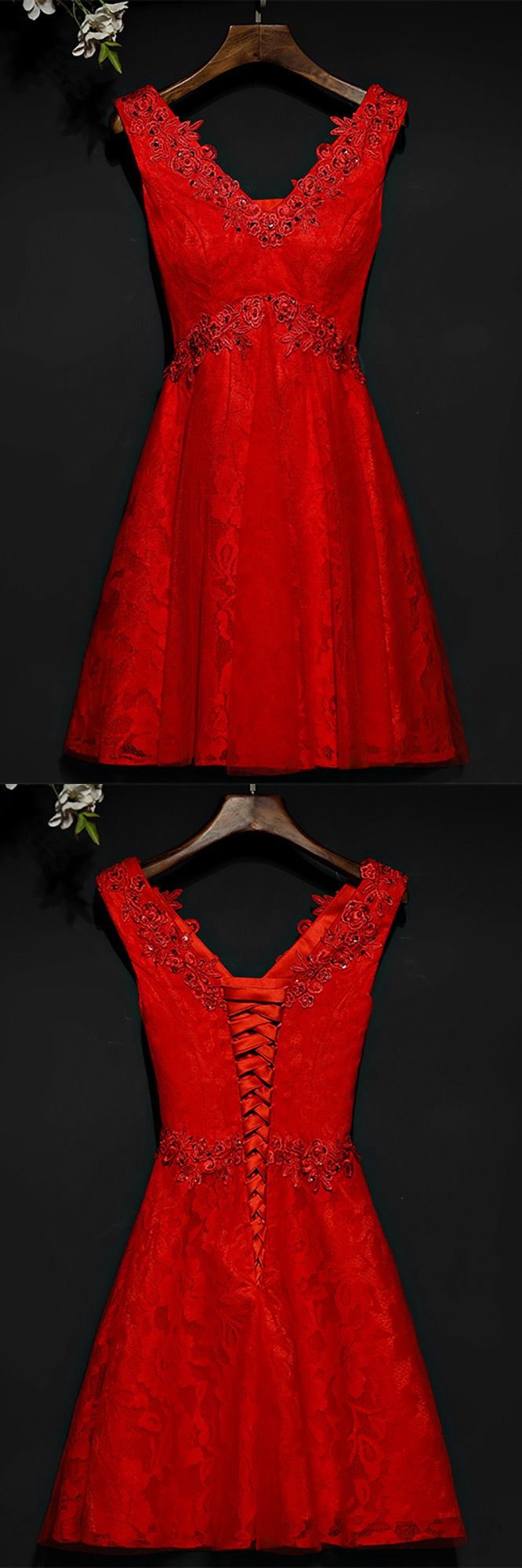 Only $89, Short Red Beaded Lace High Waist Bridal Party Dress V-neck #MYX18161 at #SheProm. SheProm is an online store with thousands of dresses, range from Party,Red,A Line Dresses,Lace Dresses,Short Dresses and so on. Not only selling formal dresses, more and more trendy dress styles will be updated daily to our store. With low price and high quality guaranteed, you will definitely like shopping from us. Click to shop now!