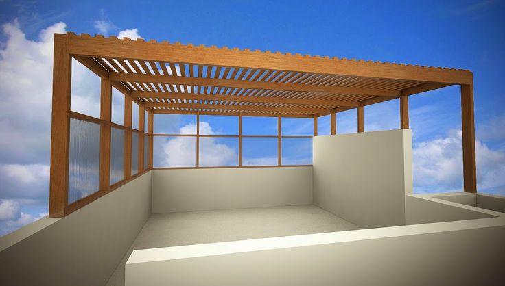 Techo sol y sombra en madera tornillo con cubierta en policarbonato.