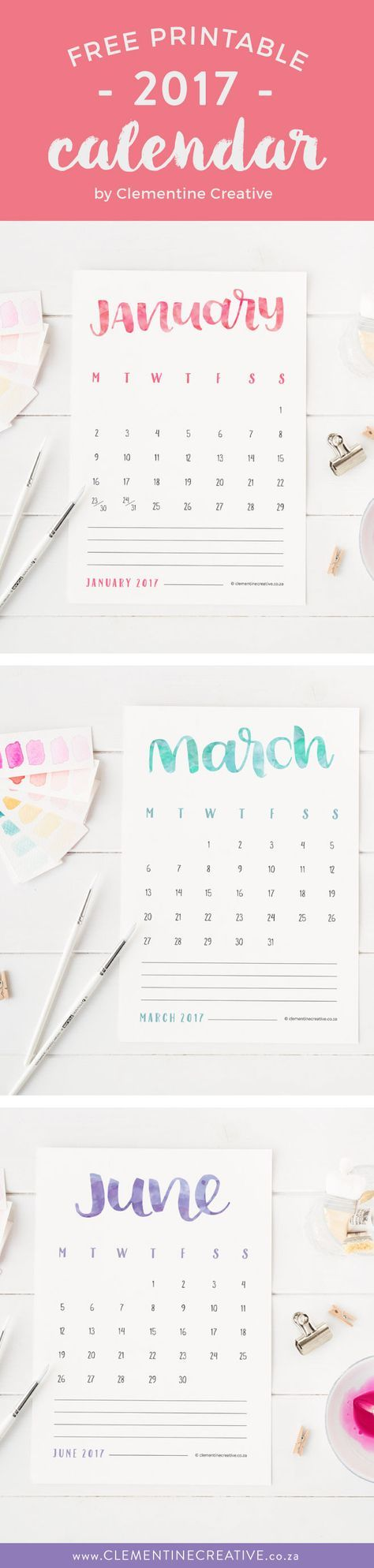 Need a pretty 2017 calendar? Download this printable hand lettered calendar here. Each month is a different colour according to its birthstone.