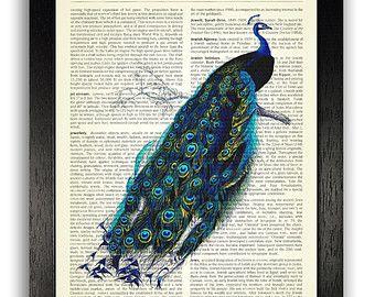 Cadeau d'anniversaire de Print, décalque de mur de paon, paon d'ART décoratif Dictionary pour petite amie, décor de mur d'une chambre Unique, dictionnaire Art