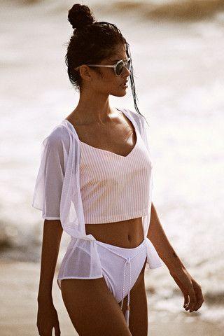 ANGELA BANG | WHITE MESH KIMONO WITH ROPE BELT €120.00 // PINK STRIPE STRAPPY CAMI TOP €115.00 // WHITE MESH INSERT BIKINI €144.00 #angelabang #paradiseisle #bikini #white #mesh #pink #stripes #kimono #camitop #croptop