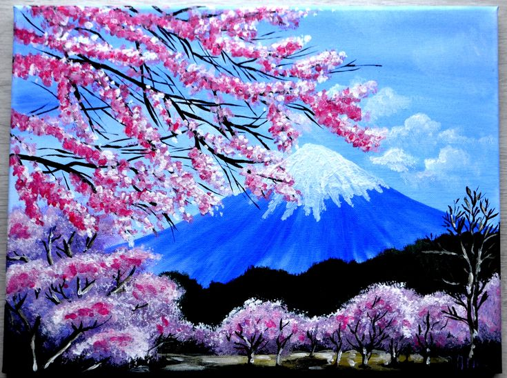 My Cherry Blossoms In The Mt Fuji Acrylic Painting From
