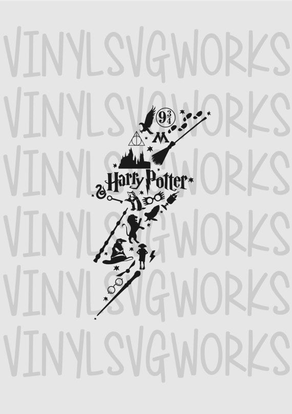Harry Potter Lightning Bolt Collage SVG FILE