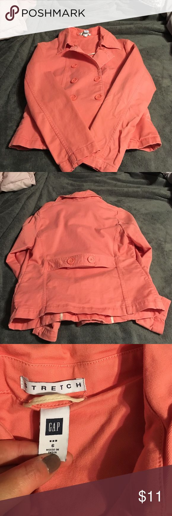 Gap jacket Size 6. Perfect condition. Cute back detail. Orange/peach color. GAP Jackets & Coats Pea Coats