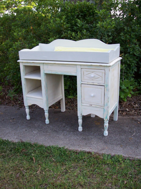 Items Similar To Baby Changing Table Convertable Changes To Desk Vanity  Vintage Furniture Pottery Barn Style Nursery French Country Treasury Item  On Etsy