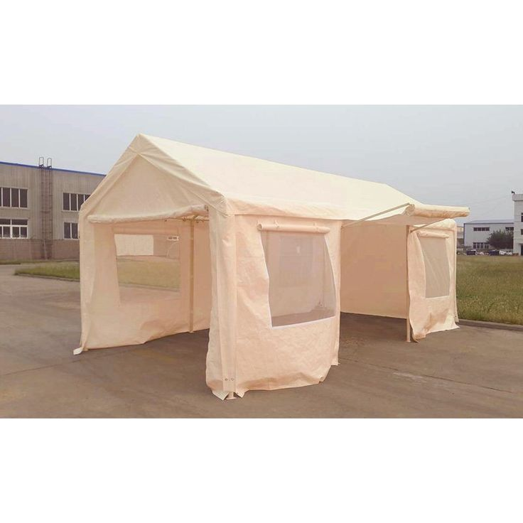 King Canopy Tan A-Frame Enclosed Carport with Awning - 10 x 20 ft. - EC1020PCT-W BOX 1