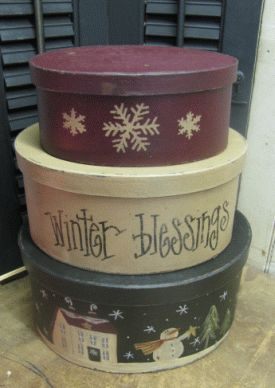 Set of 3 Oval Snowman Stack Boxes | Stack Box Sets | Winter Country Crafts | Gainers Creek Crafts