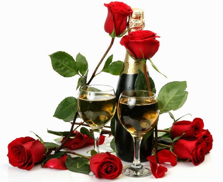Imágenes de rosas y champagne románticas de amor