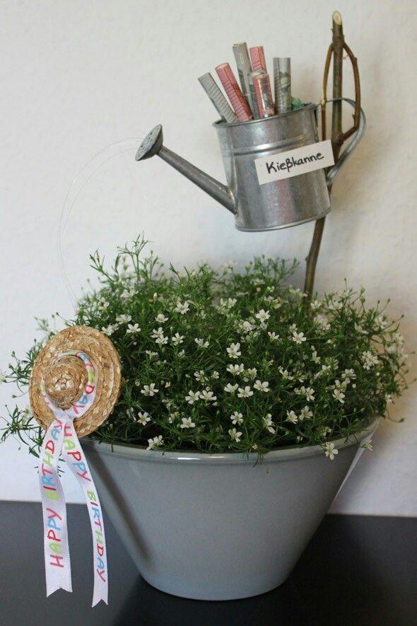 Kießkanne – Geldgeschenk für einen Gartenliebhaber