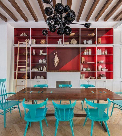 Potent Pairings: 8 Color Combos Guaranteed to Push Your Style. Maroon. Red. Aqua. AWESOME. via design*sponge