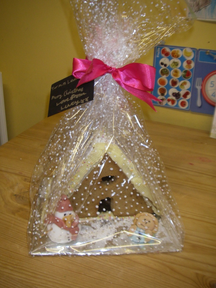 Home-made gingerbread house, plus fondant icing snowmen/figures made by the children, wrapped in cellophane and gift tag & ribbon added - great for teacher's xmas present.