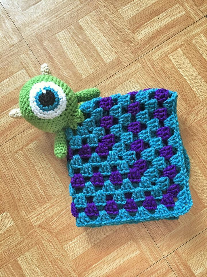 Monster Inc Lovey Blanket, Lovey Blanket, Security Blanket, Crochet Lovey, Crochet Toy, Blanket Toy, Mike Lovey Blanket, Handmade Baby Toy, by elorelicrochet on Etsy