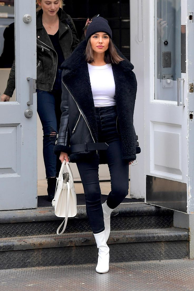 Olivia Culpo wearing Saint Laurent Sac De Jour Bag, Acne Velocite Shearling Moto Jacket, Stuart Weitzman Clingy Booties and J Brand Natasha Sky High Skinny Jeans in Seriously Black