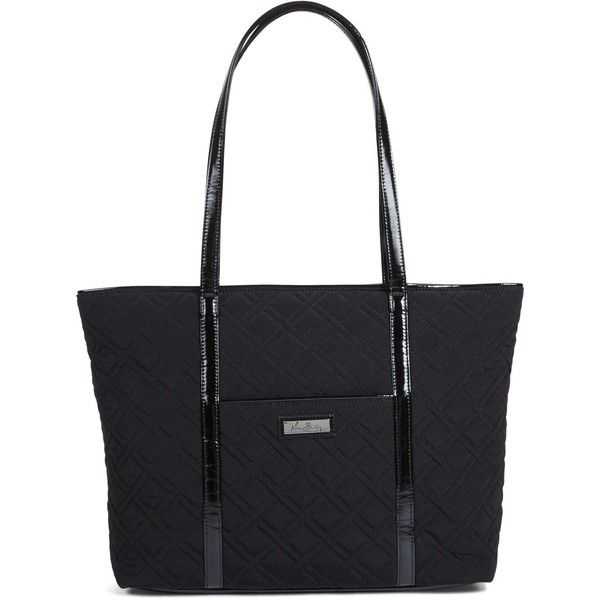 Vera Bradley Trimmed Vera Laptop Tote in Classic Black with Black Trim ($118) ❤…