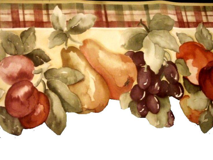 Fruit themed wallpaper border apple themed for Apple themed kitchen ideas