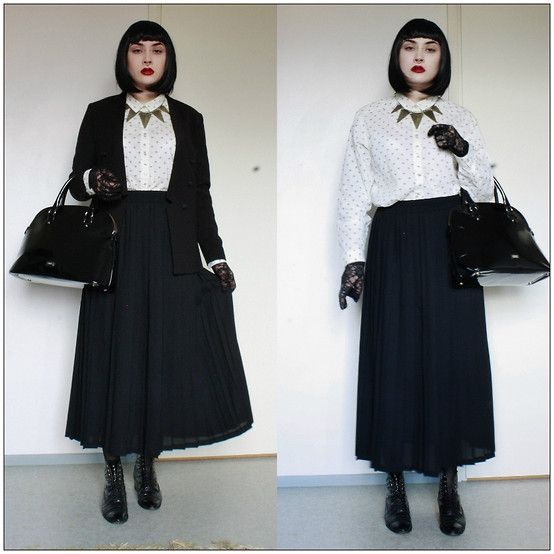 Get this look: http://lb.nu/look/7821272  More looks by Misa Horkio: http://lb.nu/amyviinitalo  Items in this look:  Mango Handbag, H&M Blazer, H&M Shirt, H&M Necklace   #vintage #pleated #skirt #maxiskirt #hennesandmauritz #hm #black #goth #nugoth