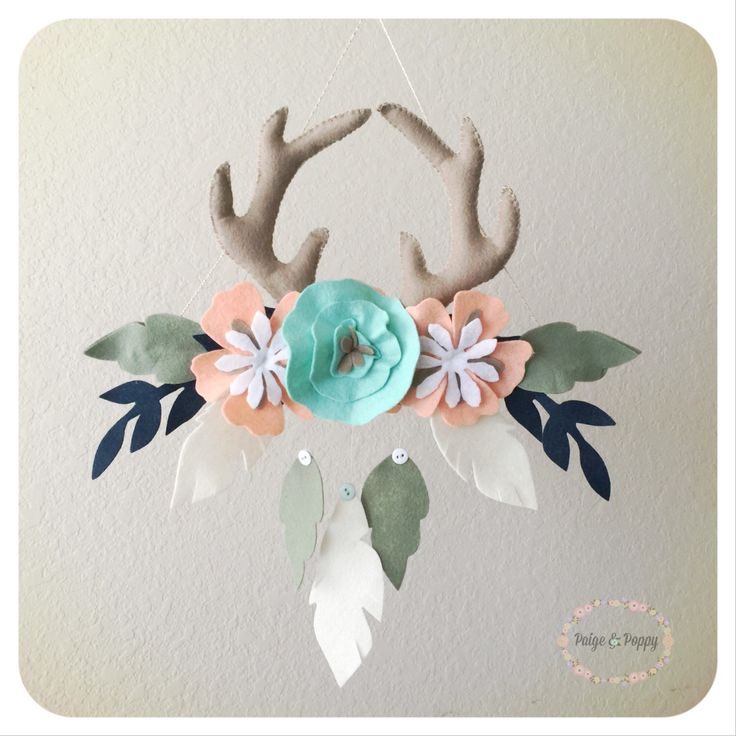 Baby Mobile - Boho Baby Mobile - Tribal Antler and Floral Nursery Decor Baby Girl Mobile Peach and Gold Feather Wall Decor - Forest Themed by PaigeAndPoppy on Etsy https://www.etsy.com/listing/252275350/baby-mobile-boho-baby-mobile-tribal