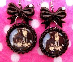 Black Butler Ciel Sebastian Anime Earrings by hobbittownjewelry