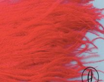 Frangia grande di piume di struzzo / / modisteria passamaneria / / Hat Making Supplies / / Poppy Red