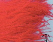 Frangia grande di piume di struzzo / / modisteria passamaneria / / Hat Making Supplies / / Poppy Red