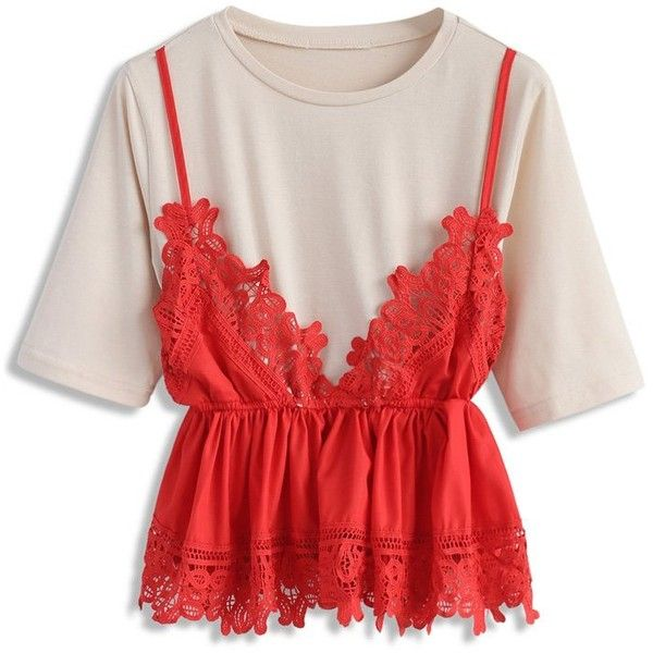 Chicwish Stylishly Sweet Faux Two-piece Top in Red ($42) ❤ liked on Polyvore featuring tops, red, red camisole top, red lace cami, fake camisole, lacy tops and lace camisole