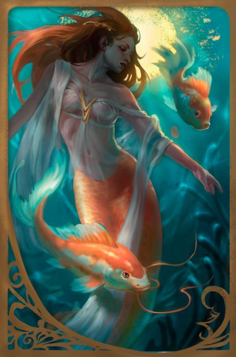 mermaid: Pisces, Zodiac Signs, Red Hair, Fantasy Art, Sea, Art Of Animal, Mermaids Tattoo, Koi, Goldfish