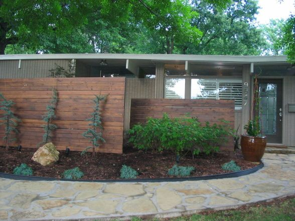 Mid Century Modern exterior  I added interest to the front of my mid century  home by the use of vertical fencing and updated landscapes   Home Exterior. 27 best images about Mid Century Modern front porches on Pinterest