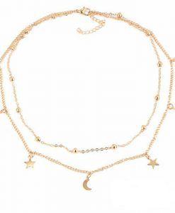 collier multirangs or lune et etoile