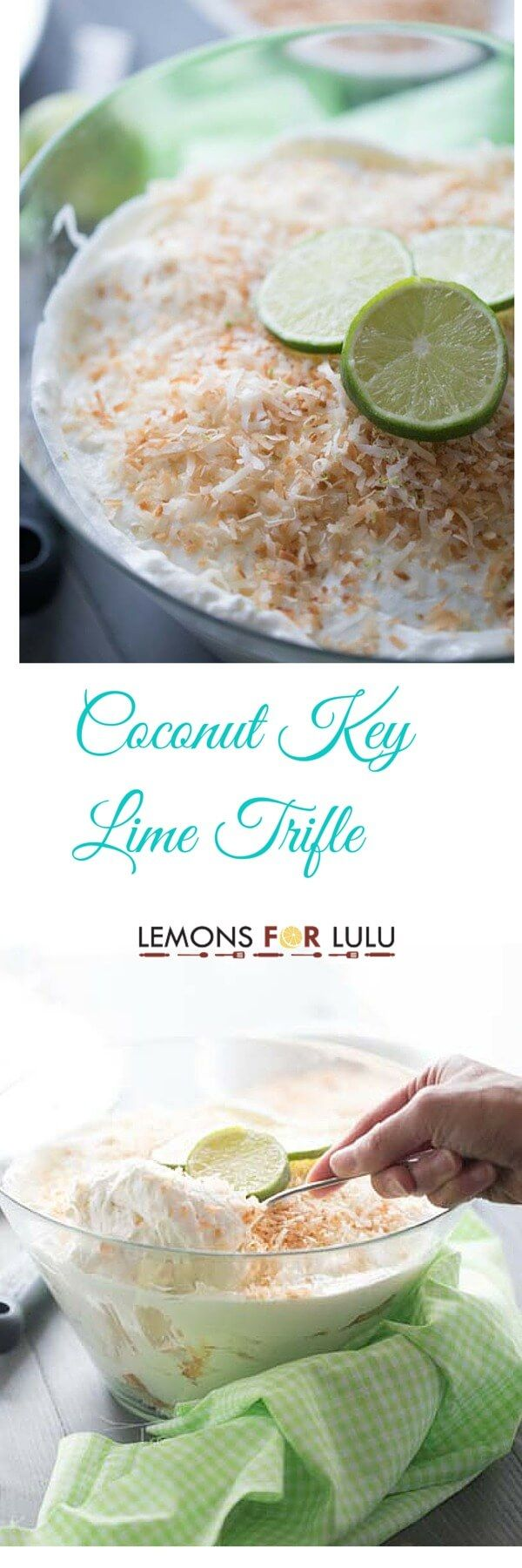 Love key lime?  Then this simple trifle recipe is for you! Angel food cake, cream cheese flavored with key lime and whipped cream are all you need for this no-bake treat! lemonsforlulu.com