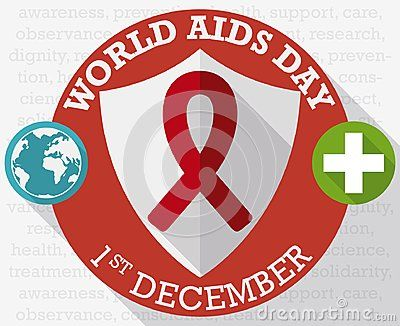 Poster in flat style and long shadow effect with round buttons with shield, globe and cross to commemorate World AIDS Day in December 1.
