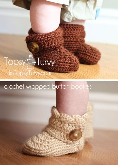 free pattern crochet button wrap around baby booties- both boy and girl versions