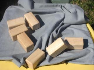 Pillow case, wooden blocks, army men for Battle of Jericho