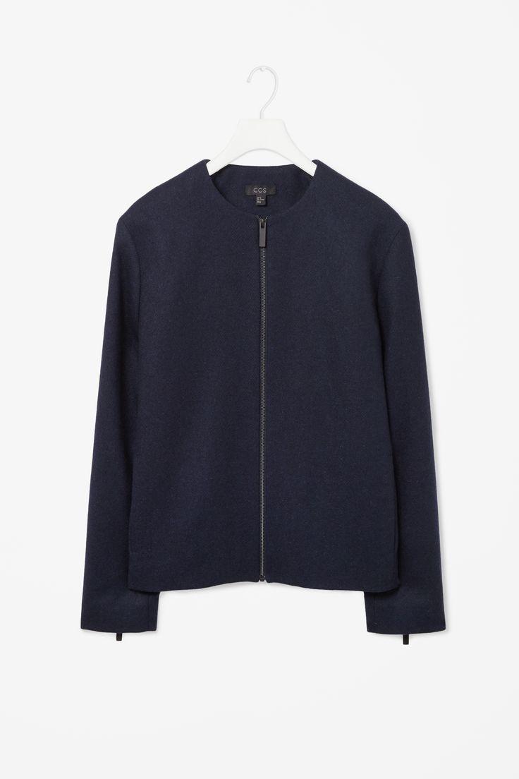 Round neck wool jacket