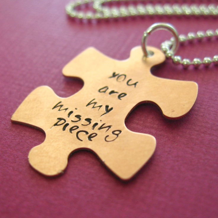 My Missing Piece Necklace - hand stamped Puzzle Piece in nickel silver, copper or brass. $18.00, via Etsy.