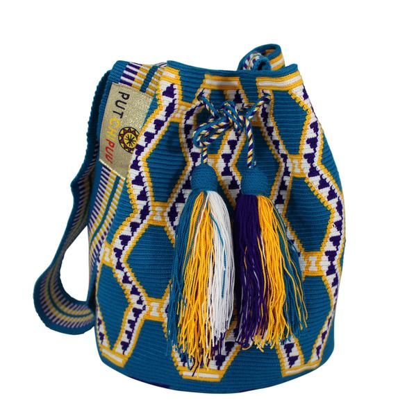 Single thread Putchipuu bucket bag, hand crocheted by the women of the Wayuu…