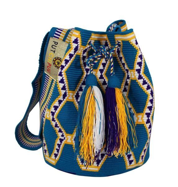 Single thread Putchipuu bucket bag, hand crocheted by the women of the Wayuu…