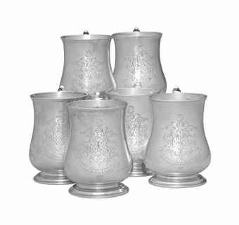 A RARE SET OF SIX SILVER CANNS WITH HERALDIC ENGRAVING  MARK OF DANIEL BOYER, BOSTON, CIRCA 1750  Each of baluster form, on molded foot, with leaf-clad scroll handle, each engraved with a coat-of-arms and the inscription, The Gift of Edwd. Kitchen, Esqr. to the Church of Christ of which Ye Revd. Mr. John Huntington ws Pastor 1766, three engraved TAleC No.[3,4,5], three engraved 3d Chh in Salem, three also engraved on lower body South Church 1774-1924, each marked   5 in.  high; 68 oz. 10 dwt